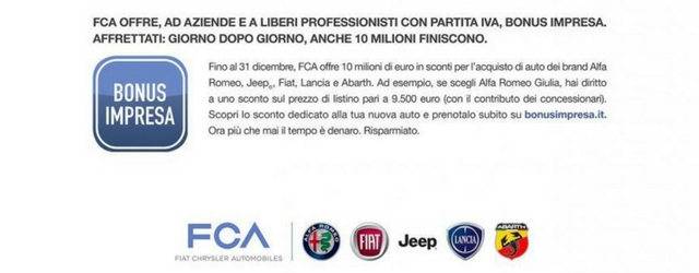 Bonus impresa FCA: 10 milioni di euro per aziende e professionisti