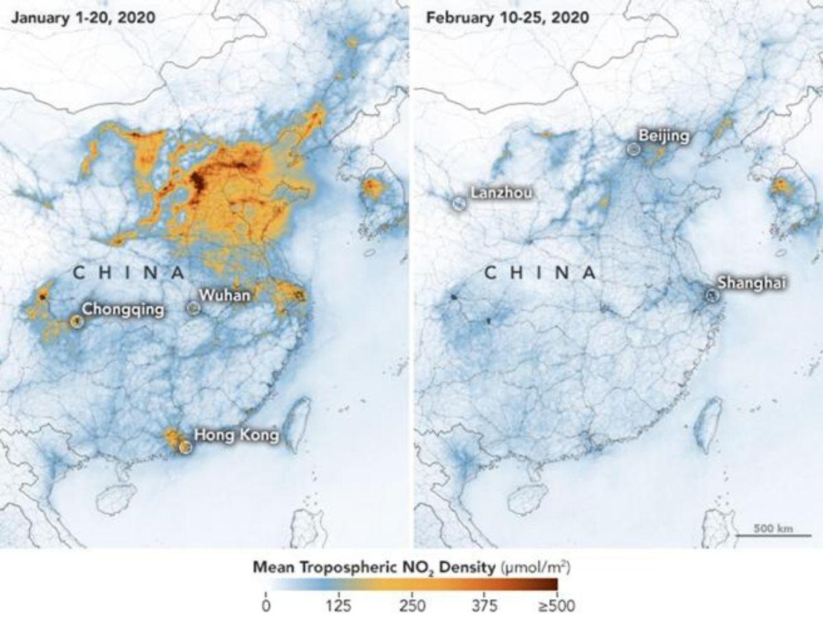 Rilevazioni satelliti Nasa ed Esa sui livelli di inquinamento in Cina