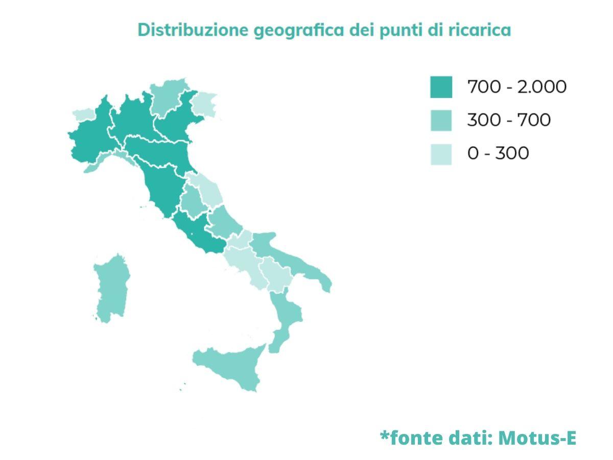 Mappatura italiana delle infrastrutture di ricarica per l'auto elettrica: i dati di Motus-e
